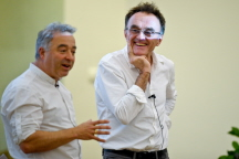 Danny Boyle and Frank Cottrell Boyce entertain the audience (c.Alan Edwards)