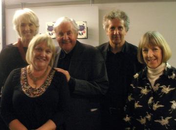 Richard Briers with (l-r) Joanna Trollope, Jane Davis, Blake Morrison and Angela Macmillan