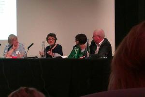 Our Young People panel, Baroness Estelle Morris, Dr Alice Sullivan and Simon Barber with Jane (c. @PennyFosten, Twitter)