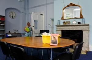 Jane in the refurbished Prinovis Reading Room (credit: Shirley Bateman)