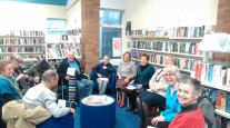One of our groups sharing some reading as part of the Leicestershire Libraries project