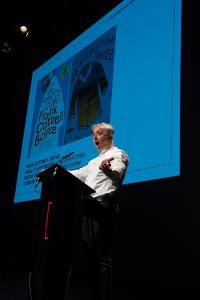 Frank Cottrell Boyce making the children's keynote lecture at the Berlin International Literature Festival