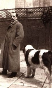 JM Barrie with Porthos, the inspiration for Peter Pan's Nana