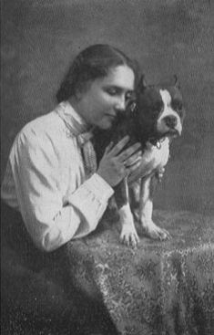 Helen Keller with her beloved pitbull